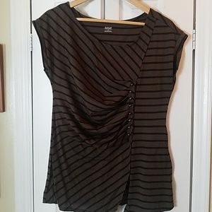 Asymmetrical green / brown striped top